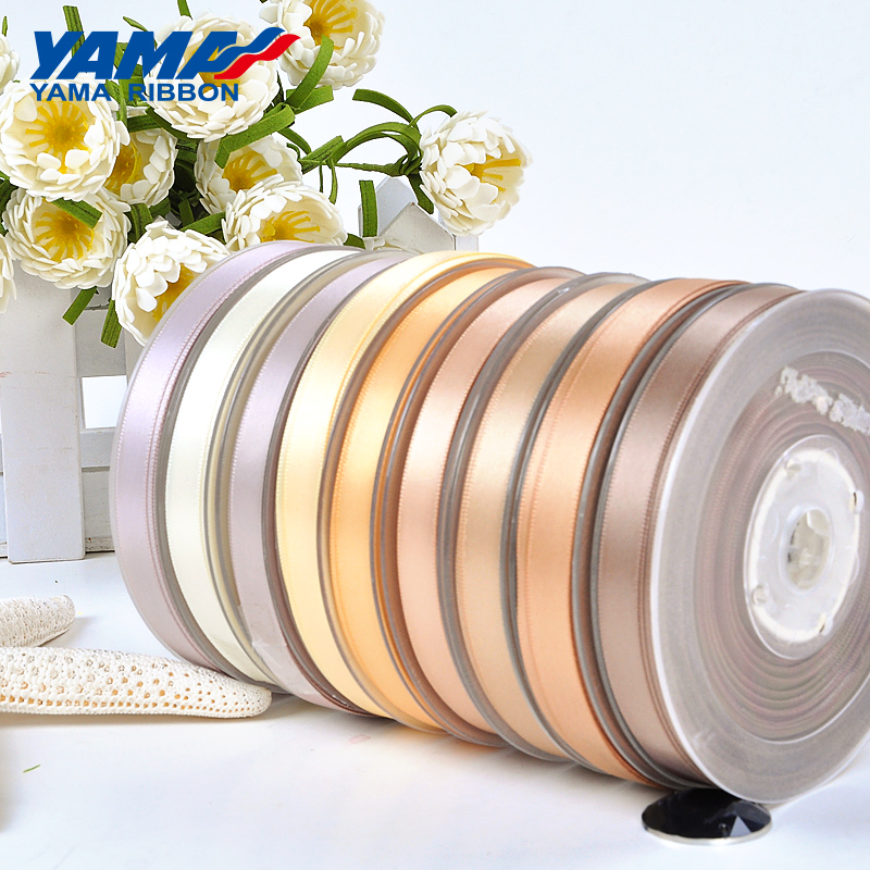 YAMA 100yards 6 9 13 16 19 22 mm Double Face Satin Ribbon Gold Brown Ribbons for Party Wedding Decoration Handmade Rose Gifts