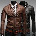 Mens casual leather clothing 2017 fashion bodycon slim leather jacket coat outerwear