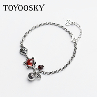 Design 100% 925 Sterling Thai Silver Bracelet For Women Handmade Red Fox Animal Long Chain Vintage Bangle 16+3CM
