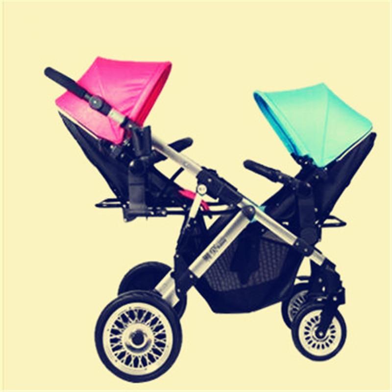 Niño y niña doble cochecito bidireccional bebé cochecito ligero y plegable bebé paraguas carros puede sentarse y mentir carro marca cochecito de bebé