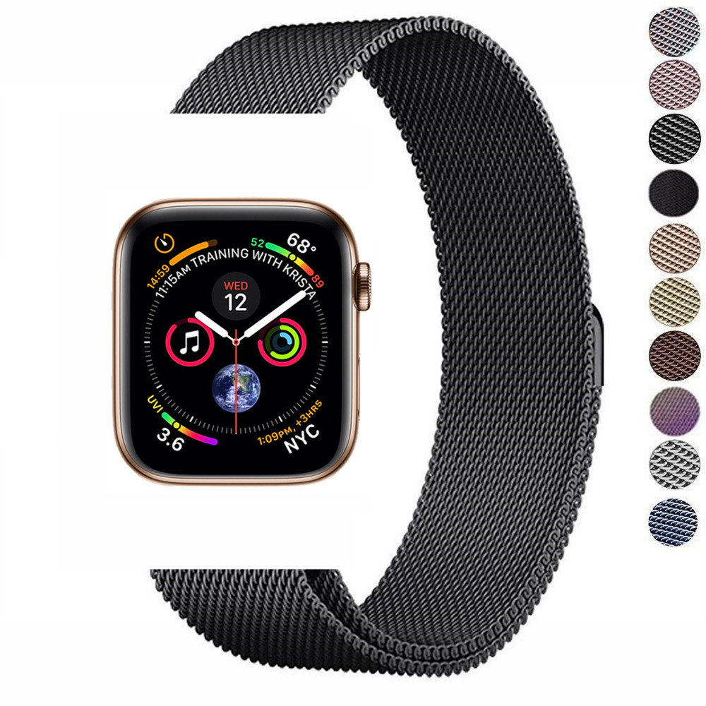 Milanese loop magnetic buckle strap for apple watch band 44mm 40mm iwatch series 4 3 2 1 42mm 38mm stainless steel link bracelet milanese loop strap stainless steel bracelet for apple watch series 4 40mm 44mm band wrist link belt for iwatch 1 2 3 42mm 38mm