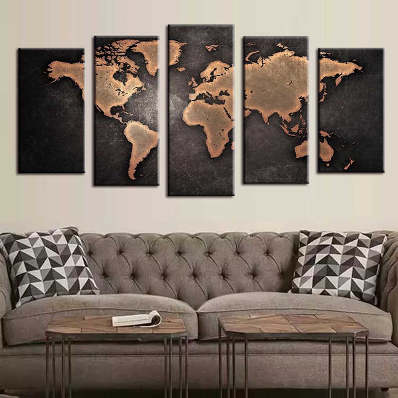 5 PCS/Set Huge Black World Map Paintings Print On Canvas HD Abstract World Map Canvas Painting Office Wall Art Home decor DC1