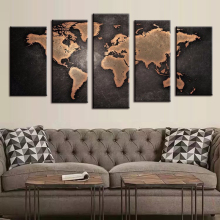 5 Pieces Modular Pictures for Home Abstract Wall Art Painting World Map Canvas Painting for Living Room Home Decor Picture DC1