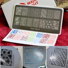 למעלה איכות 10 יח\סט גדולים Dijit נייל Stamping צלחות נייל אמנות Stamping תבנית פלייט תמונת נייל סטנסיל עם protectiveback