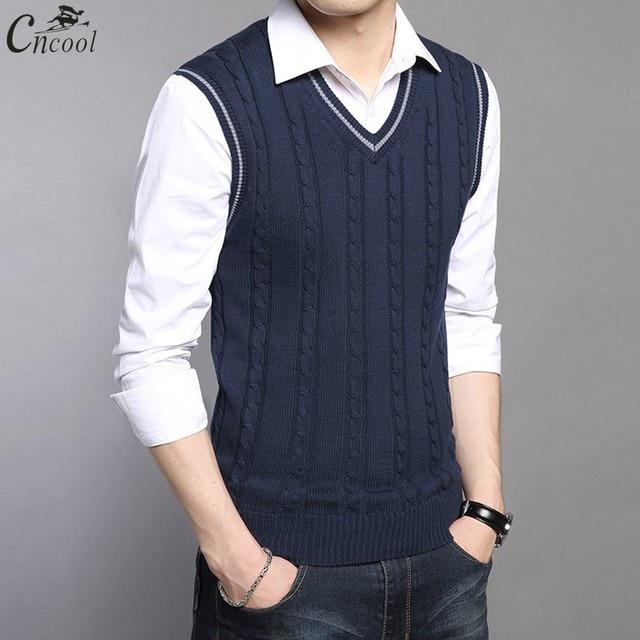 c936092a4a2fd4 Cncool Wool Vest Men Autumn Winter New Classic V-neck Sleeveless Sweater  Men Cotton Knitwear