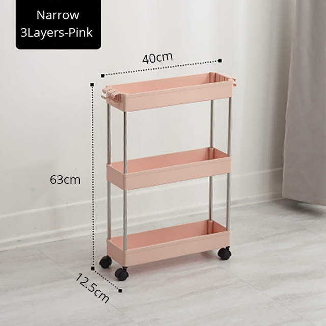 US $17.06 38% OFF|BR Narrow Kitchen Storage Rack Fridge Side Out Shelf  2/3/4 Layer Movable Bathroom Organizer on Wheels Stainless Steel Gap  Holder-in ...