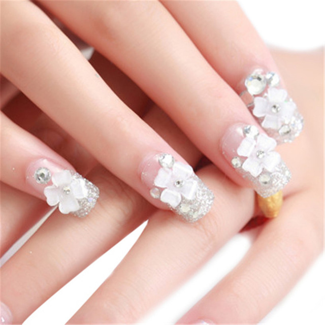24pc Bride Shining Nail Art Decorations Rhinestones Pearls False Nails DIY  Nail Art Diamonds Flower Sticker