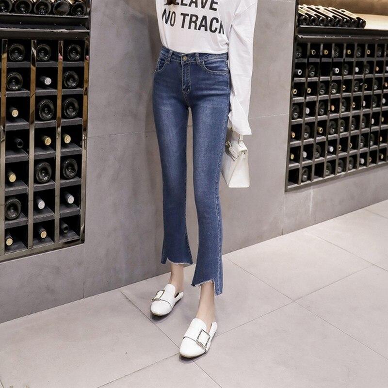 EXOTAO Plus Größe Hohe Taille Denim Hosen Frauen Kleidung Flare Hosen Jeans Dünne Dünne Rand Quaste Jeans Pantalon Femme Größe 25-32