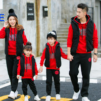 3 Pc/Sets Korean Sports Suits Family Matching Outfits Mother Daughter Clothes Winter Thick Jacket Pullover Kids Clothing