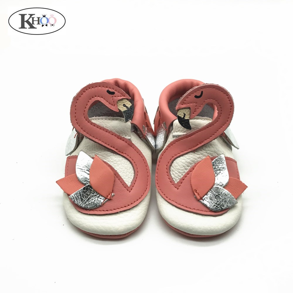 Girls Shoes Flamingo Baby Moccasins First-Walkers Toddler Newborn Infant Genuine-Leather