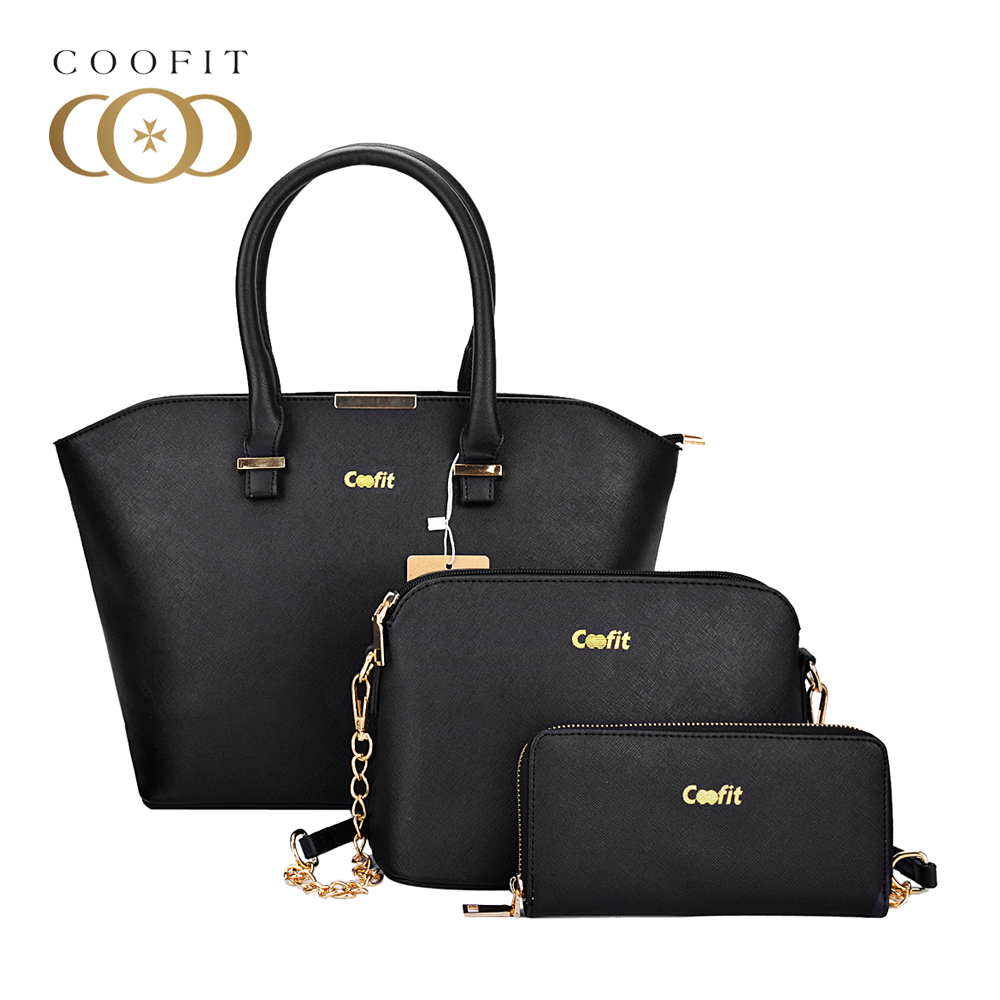 Coofit 3 PCs Women Handbags Luxury PU Leather Composite Bags For Female Messenger Crossbody Shoulder Bag Handbag Clutch Wallet jooz brand luxury belts solid pu leather women handbag 3 pcs composite bags set female shoulder crossbody bag lady purse clutch