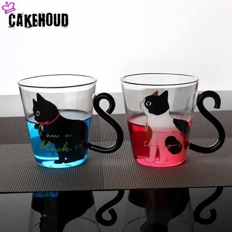 CAKEHOUD Милая CreativeKitten термостойкая кружка для молока чашка для кофе чашка с мультяшным котенком/маленькая черная кошка домашняя офисная чашка