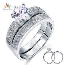 Павлин звезда Винтажный стиль 1,25 Ct Пасьянс Стерлинговое Серебро 925 2 шт обручальное кольцо для помолвки набор CFR8096