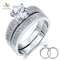 Vintage Style 1 25 Ct Solitaire CZ Simulated Diamond Solid Sterling 925 Silver 2 Pc Wedding