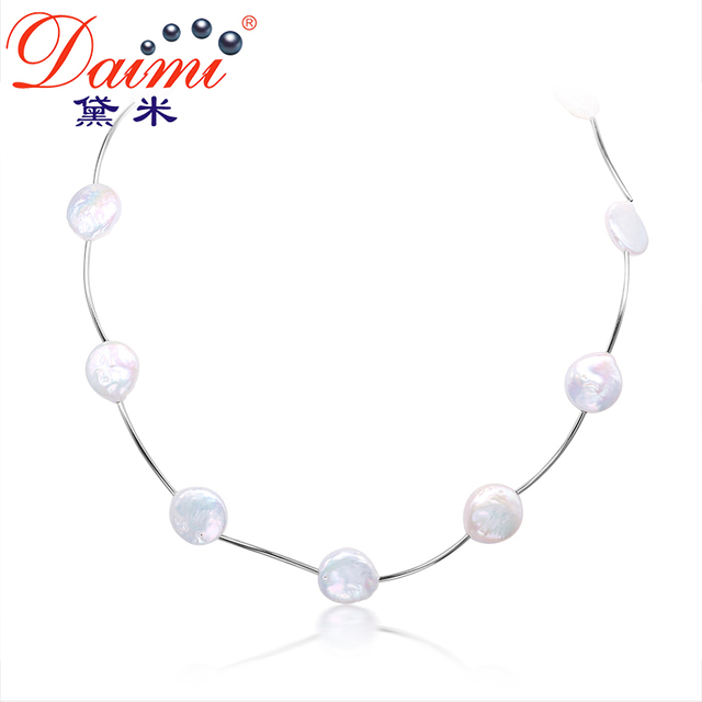 e6e3d979ae7d4 DAIMI 13 14MM Coin Pearl Fastion Necklace Natural White Pearl Choker  Necklace White/Gray Color-in Necklaces from Jewelry & Accessories