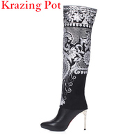 Fashion Winter Black Flowers Embroidery Zipper Superstar Thigh High Boots Poined Toe High Heel Women Shoes