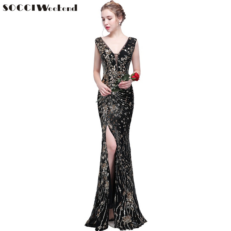 Weddings & Events Socci Weekend Sequined Mermaid Evening Dresses Long Beading Gowns Open Lace Up Back Formal Wedding Party Dress Robe De Reception