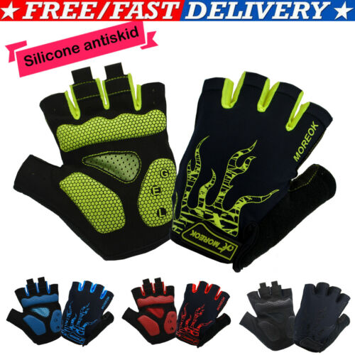 Hirigin Unisex Antiskid Cycling Gloves MTB Bike Half Finger Gloves Short Finger Print Sports Gloves