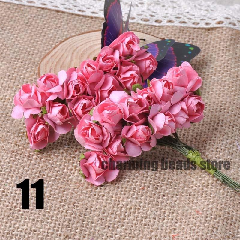 24 шт. 15 мм мини искусственный Бумага розы букет Свадебный декор Скрапбукинг DIY cp0022x - Цвет: 11