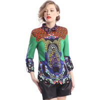 Fashion Summer New Women S Casual Blouse Desigual Retro Pattern Printing Vintage Shirt Plus Size XL