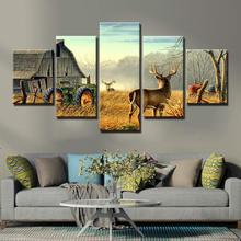 HD Prints Canvas Paintings Wall Art Home Decor 5 Pieces animal deer wall pictures for living room posters and prints Artwork