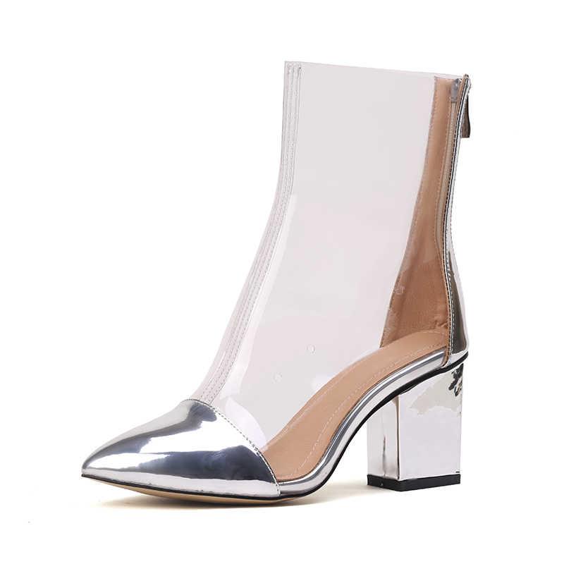2019 Yaz Yeni Seksi PVC Şeffaf Botlar Sandalet Peep Toe Kim Kardashian Ayakkabı Temizle Tıknaz topuklu Sandalet Mujer Kadın Botları