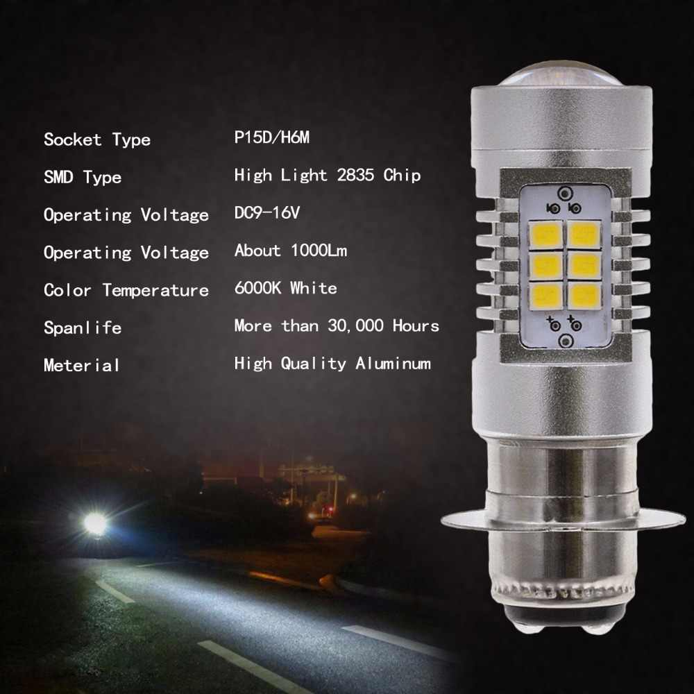 1pcs 1000LM External Lighting P15D H6M LED Light Source Headlight Fog Lights DRL bulbs For Motorcycle No Hi/Lo Function