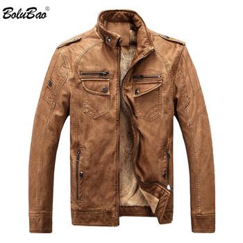 BOLUBAO Brand New męskie kurtki zimowe zamszowe gruby ciepły polar podszyte męskie kurtki-pilotki męskie skórzane kurtki płaszcze tanie i dobre opinie STANDARD Faux leather Suknem Skóra i zamszowe NONE Poliester Leather Jackets Stałe REGULAR MANDARIN COLLAR Zamki zipper