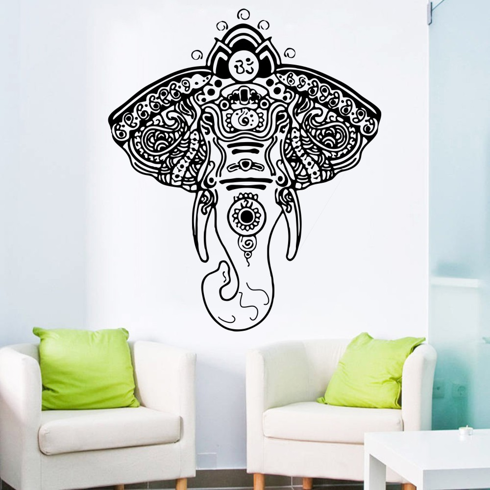 US $15 21 10% OFF|Religious Series Elephant Tribal Indian Style Wall Mural  Buddha LotusOm Sign Ganesh Wall Sticker Living Room Decor Gift Y 924-in