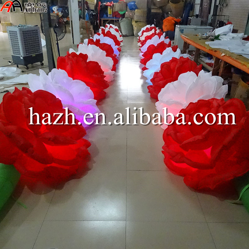 Wedding Decoration Inflatable Rose Flower Chain With Light