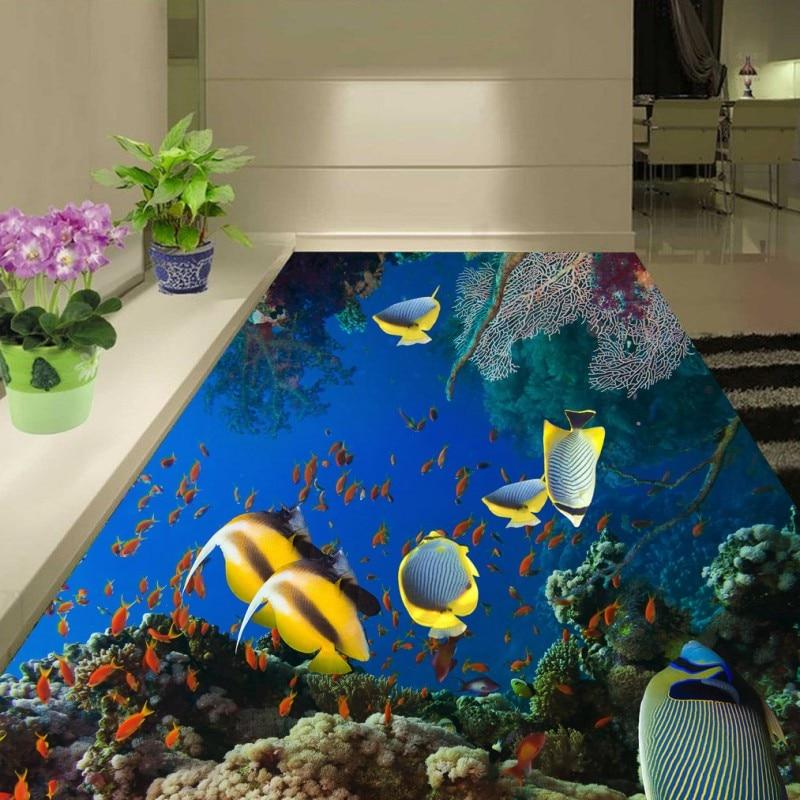 Free Shipping waterproof PVC floor painting Naked eye 3D underwater world bathroom living room floor stickers wallpaper mural