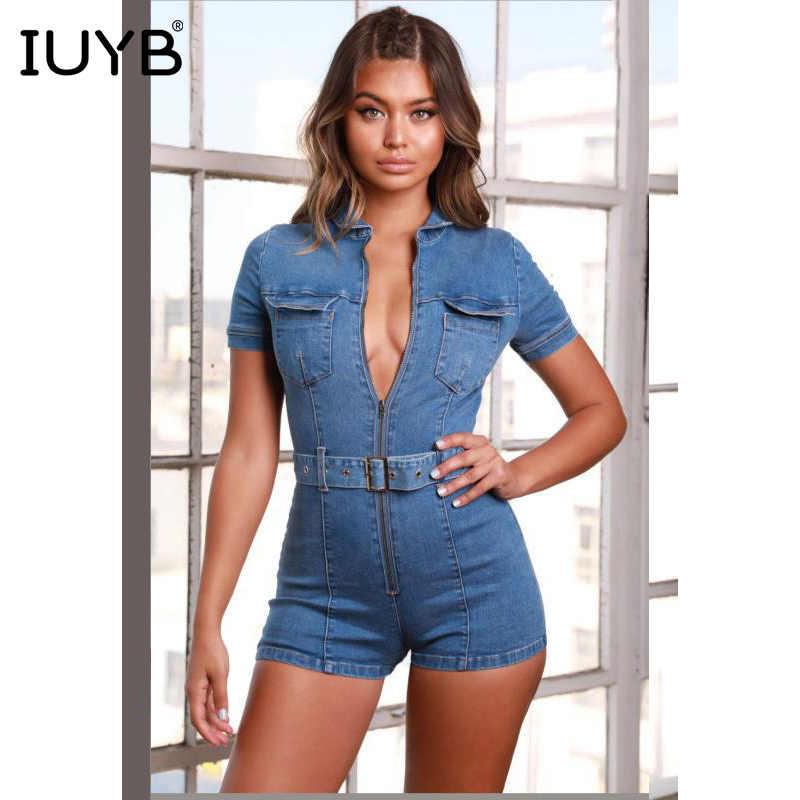 IUYB Весна 2019 Новый возраст снижение сексуальные модные женские Мини-комбинезоны сплошной короткий рукав обтягивающая, эластичная джинсовая комбинезон SY7021