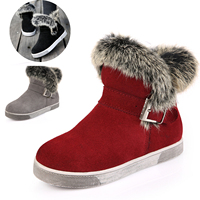 New Brand Genuine Leather Winter Girls Snow Boots Soft Plush Fur Buckle High Quality Children S
