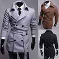 2016 Seconds Kill Direct Selling Turn-down Collar Woolen Half Novelty Solid Male Outerwear Brief Double Breasted Slim Coat