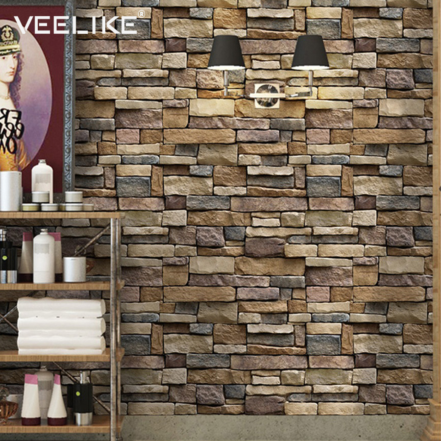 3DBrick Stone Rustic Effect Self-adhesive Wall Sticker Home Decor 45*45cm L