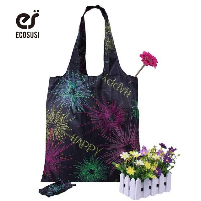 Ecosusi Роуз печати Складная Многоразовые Хозяйственные сумки рекламные Сумки ecotote сумка хозяйственная сумка