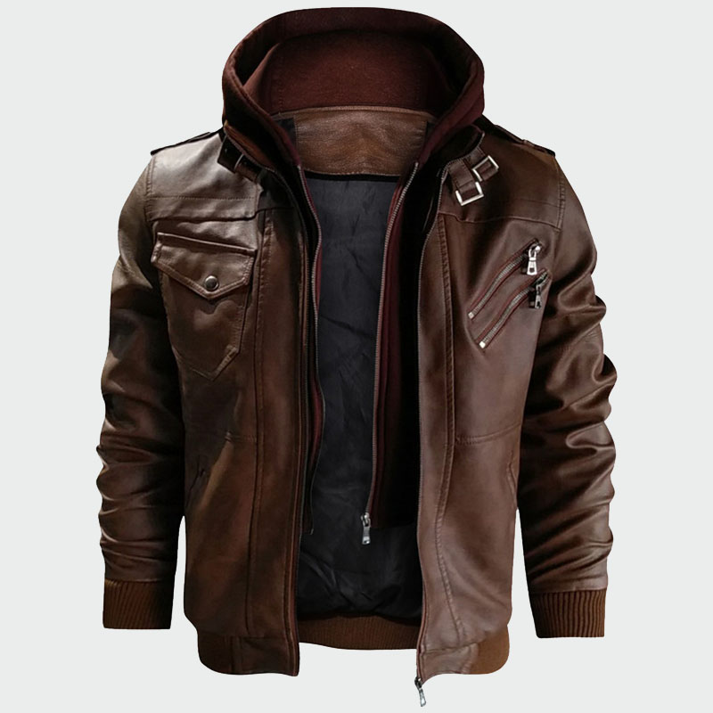 Leather Jackets Autumn Casual Motorcycle PU Leather Coats Faux Mens Clothing