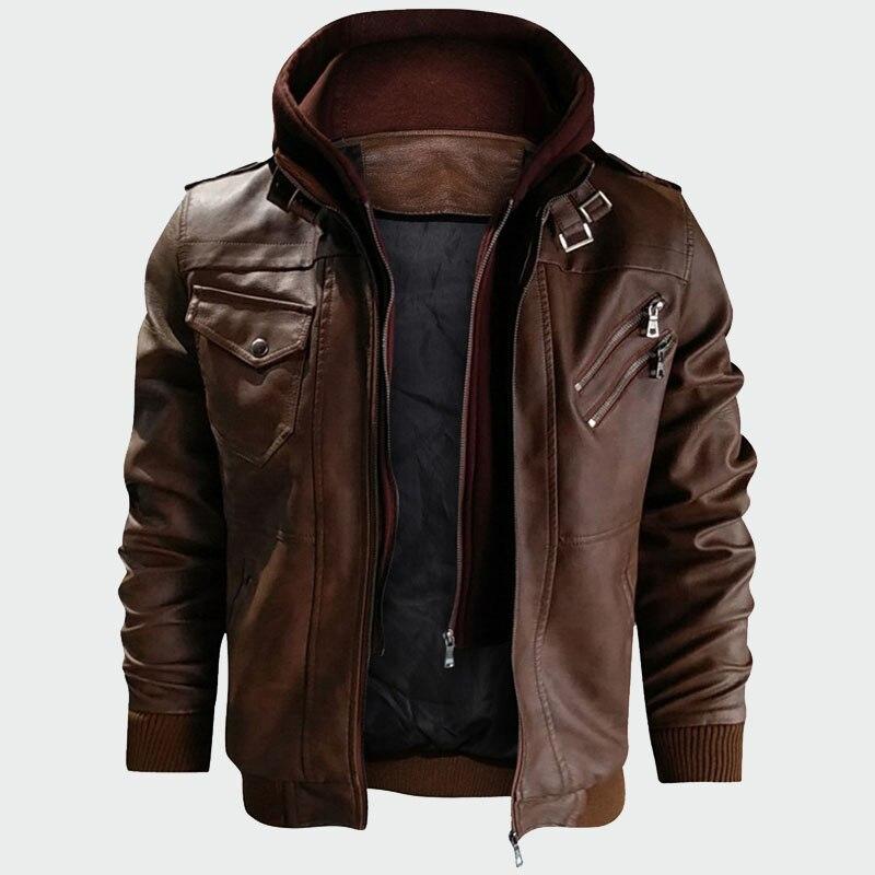 Hommes vestes en cuir automne décontracté moto veste en cuir synthétique polyuréthane manteaux en cuir hommes Faux veste hommes marque vêtements ML212