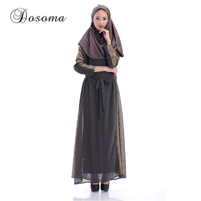 Musulmanes imprimir Maxi vestido mujeres dorado gasa abaya kimono ...