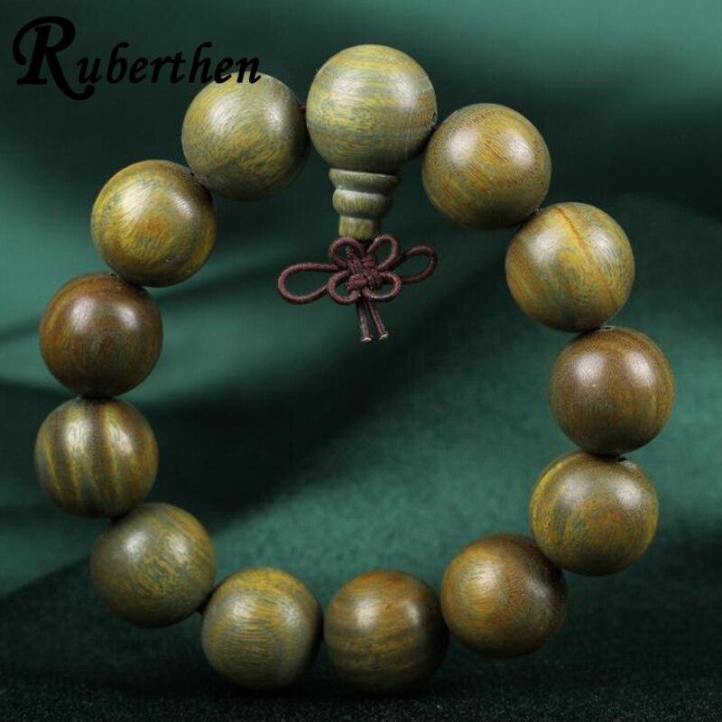 Ruberthen High Quality Men`s Wood Bead Bracelet 18 mm Beads Bouddha Bracelet Best Birthday Gift for Him