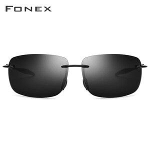 Image 3 - FONEX Ultem TR90 Rimless Sunglasses Men Ultralight High Quality Square Frameless Sun Glasses for Women Nylon Lens 1607