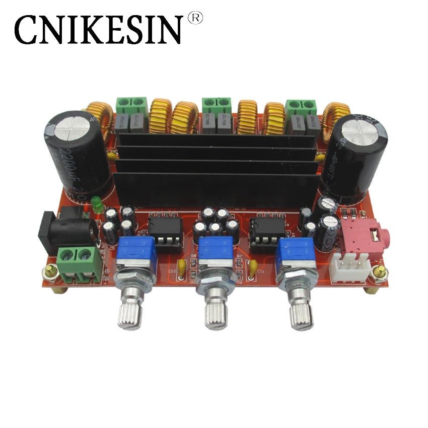 CNIKESIN 2.1 channels digital power amplifier board width 12V and 24V voltage TPA3116D2 50 w + 2 * 100W power amplifier module