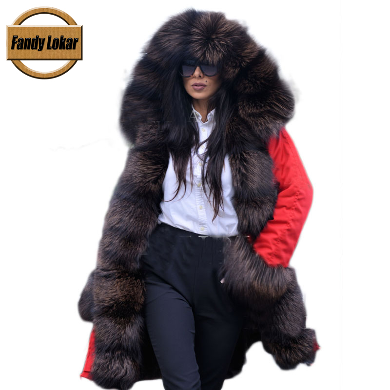 Warm Fox Fur Collar Hooded Coat With Belt Women Winter Real Rex Rabbit Fur Liner Warm Jacket Women Fur Parka Female FP10262 red shell warm raccoon fur collar coat women winter real fox fur liner hooded jacket women long parka female ladies fp891