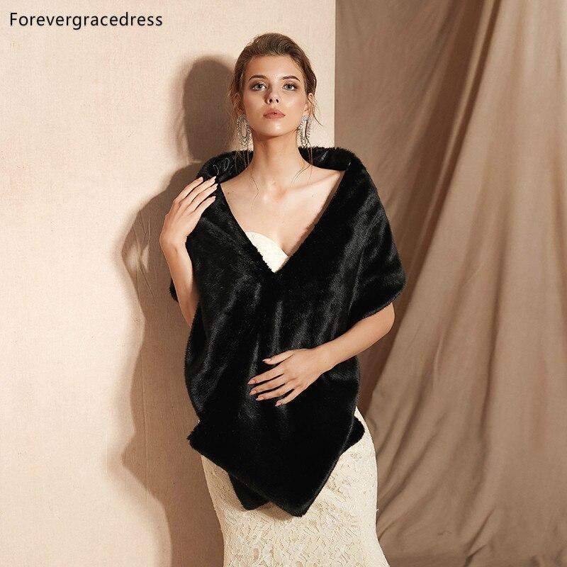 Forevergracedress 2019 Elegant Soft Autumn Winter Faux Fur Bride Wedding Wrap Bolero Jackets Bridal Coats Shawls Scarves PJ339