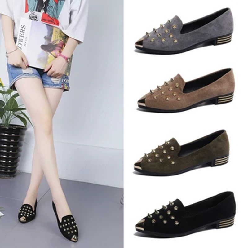 1205464a08 ... New Women Flats Golden Studs Shoes Pointy Toe Loafers Fashion Metal Ballerina  Ballet Flat Slip On ...