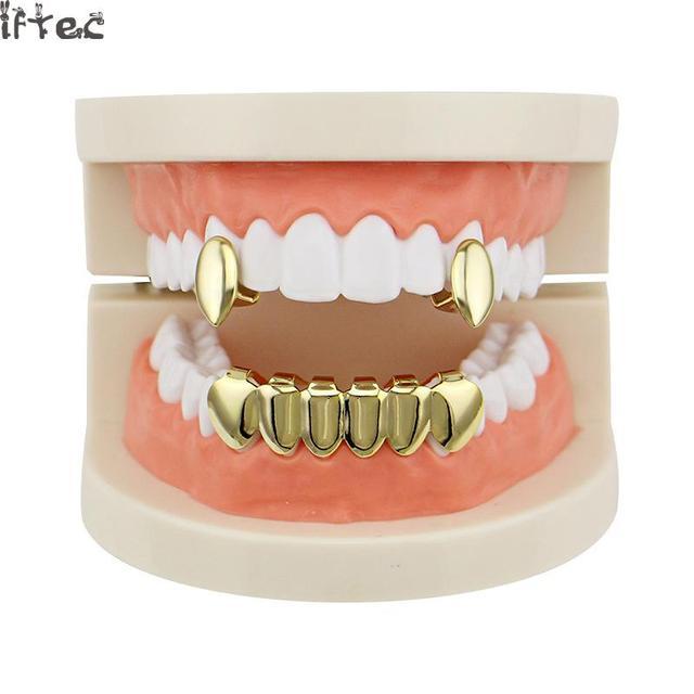 Iftec Gold Teeth Grillz Hip Hop Grillz Set Vampire 2 Single Custome Caps  Tooth Grillz Dental