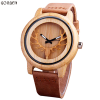 Casual Natural Wooden Quartz Mens Watches Hollow Deer Head Engraved Bamboo Dial Creative Vintage Genuine Band