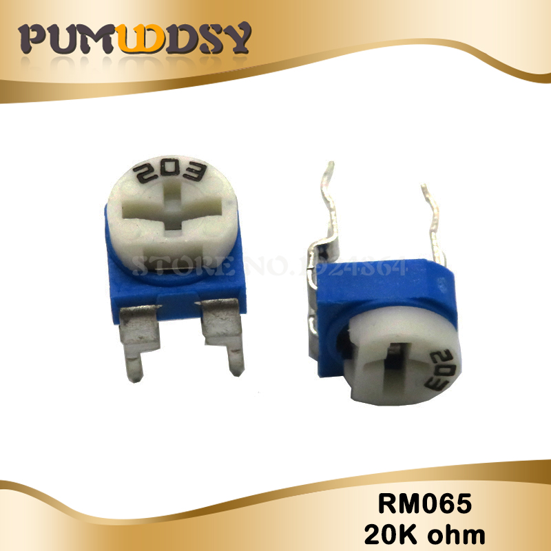 20PCS RM065 RM-065 20K Ohm 203 RM065-203 Trimpot Trimmer Potentiometer Variable Resistor