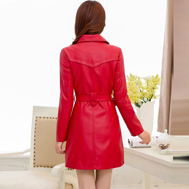 Chaud Femelle Noir Outwear Re0155 Manteau Taille La Épais Mode Faux Daim Plus Cuir Nouveau Femmes Pu Mince D'hiver En rouge Longue Veste 775RqOw
