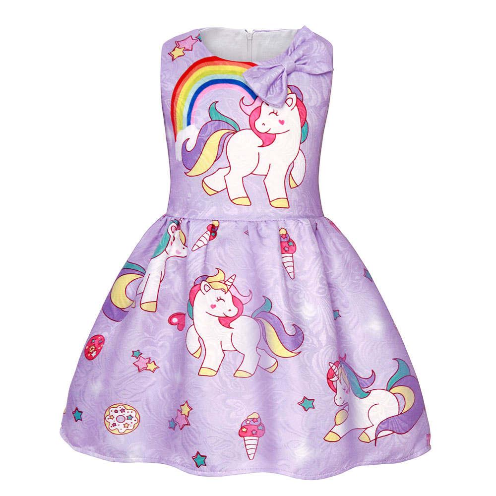 AmzBarley kids dresses Girls unicorn costume Sleeveless princess Dress Up Bow-knot Party Outfit clothes tutu dress for girls